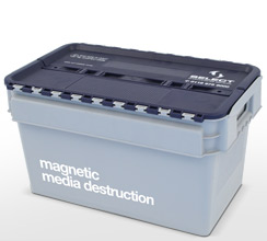 Magnetic media destruction container