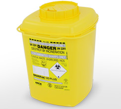 Yellow 12L Sharpak sharps container
