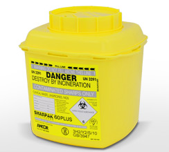 Yellow 6L Sharpak sharps container