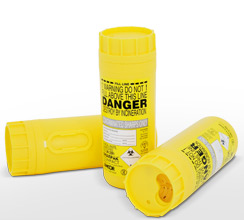 Yellow compact Sharpak sharps container
